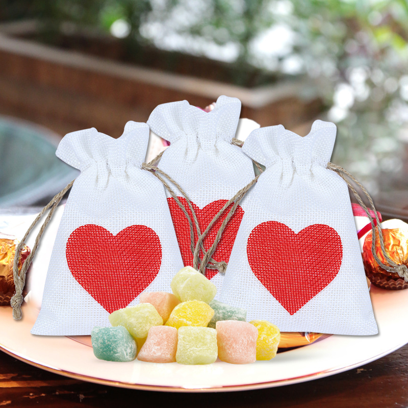 12 PCS 10x14cm Linen Jute Drawstring Gift Bags Sacks Party Favors Packaging Bag Wedding Candy Gift Bags Party Supplies