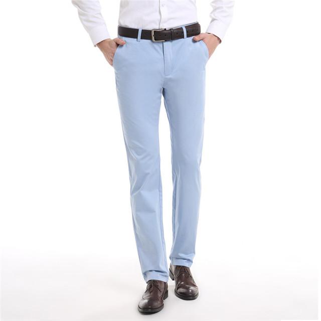 2016 Nova Primavera Verão estilo fino dos homens calças de negócios de algodão e modal de corte em linha reta natural cintura corpo inteiro calças masculinas