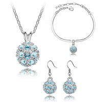 Fashion Brand Austrian White Crystal Shamballa Disco Ball Beads Locket Pendant Jewelry Sets Necklace Earrings Rings