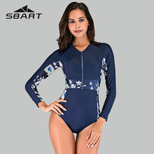 Sbart Floral Print Rash Guard Swim Wear 2019 Splice Sport One Piece Swimsuit Deep Zipper Surfing Suit Long Sleeve Women New
