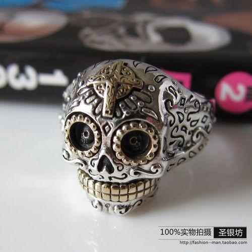 Cool <font><b>punk</b></font> jewelry good <font><b>vibrations</b></font> 925 <font><b>pure</b></font> silver skull male ring
