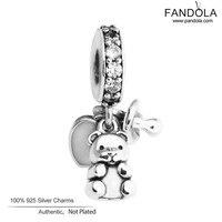 원래 FANDOLA DIY 아기 보물 매력 비즈 팔찌 925 스털링 실버 구슬 보석 만들기 Berloques 파라 Pulsera
