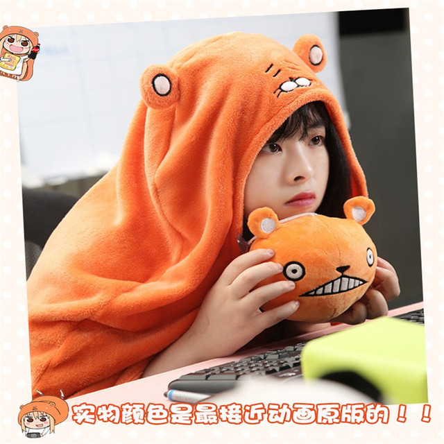 Himouto! Umaru chan Cloak Anime Doma Umaru Cosplay Costume Cape Home Hooded Cape Blanket Soft Carton Cosplay Cloth  CS14037