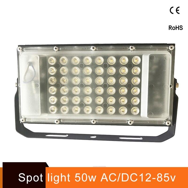 Ultra-mince 12 volts LED lumière d'inondation imperméable à l'eau IP65 50 w ac/dc 12-85 v LED Spotlight Refletor lampe de mur de l'éclairage extérieur projecteur