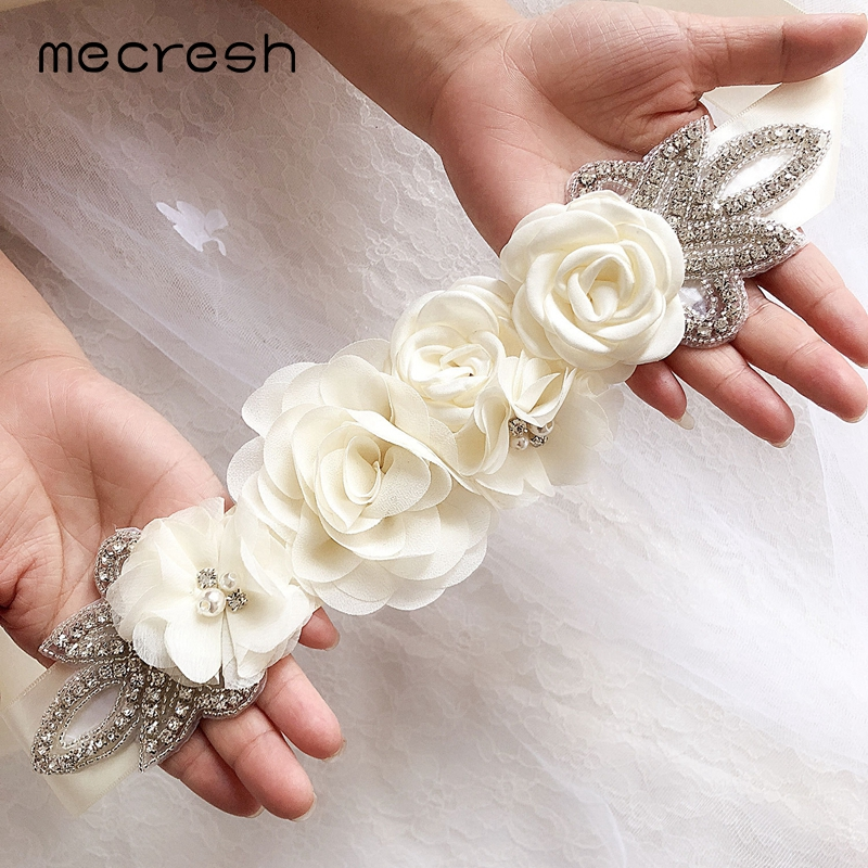 Mecresh Rose Simulated Pearl Bridal Wedding Belt Dress Accessories Rhinestone Flower Dress Sash Belt For Bride Bridesmaid YD007