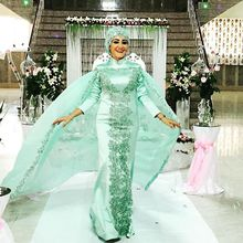 Gelinlik Hijab Mermaid Long Sleeve Muslim Elegant Women Dress for Wedding Party Prom Evening Chiffon Satin