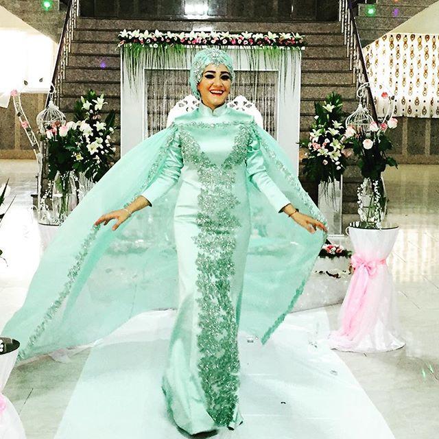 Gelinlik font b Hijab b font Mermaid Long Sleeve Muslim Elegant Women Dress for Wedding Party