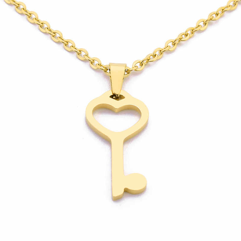 Новый Золотой цвет 316L нержавеющая сталь ключ кулон ожерелье и серьги набор украшений для женщин отмычка серьги гвоздики и ожерелье s наборы