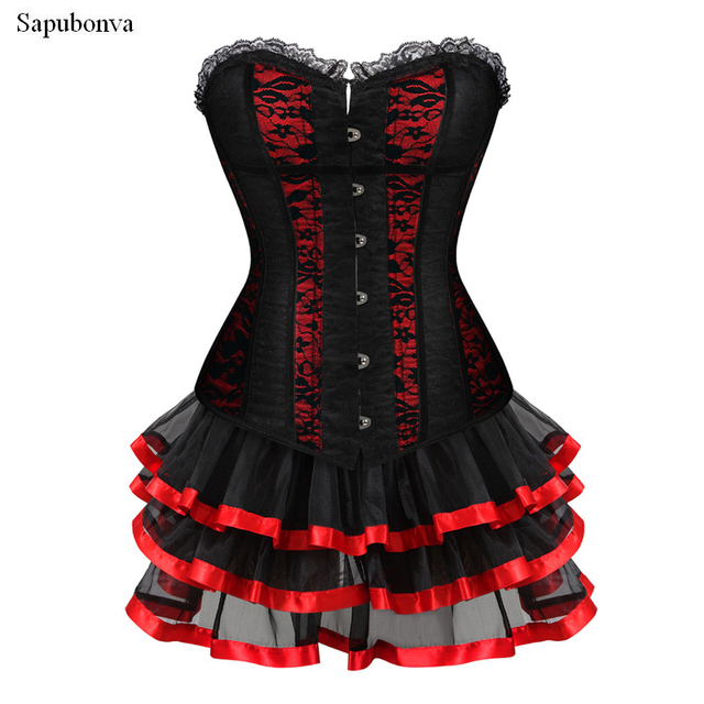 6e9625f391e17 US $22.78 49% OFF|Sapubonva corset dress waist trainer steampunk corselet  gothic clothing sexy lingerie party corsets and bustiers skirts cosplay-in  ...