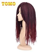 "TOMO 14"" 18"" 22"" Crotchet Box Braids Hair Extensions Ombre Blonde Brown Burgundy Black Synthetic Crochet Hair"