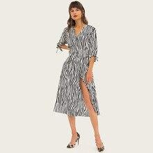 Wasteheart Summer Women Striped A-Line Dress Long Dresses Deep V Neck Lantern Office Lady High Leg Sexy Plus Size