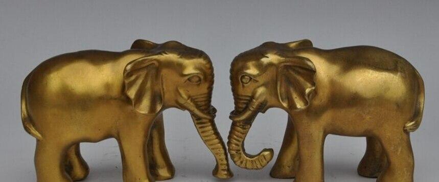 الصينية فنغشوي براس الحيوان الفيل محظوظ الميمون تمثال النحت زوج-في تماثيل ومنحوتات من المنزل والحديقة على title=