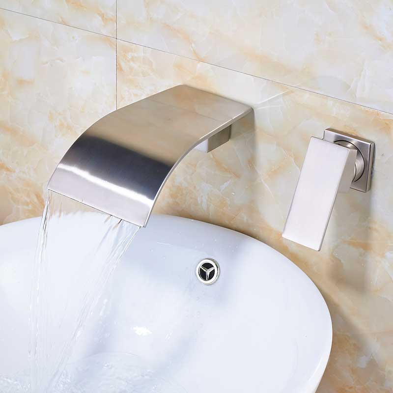 Brushed Nickel Waterfall Bathroom Faucet Wall Mounted Dual Hole Bathroom Tub Mixer Tap Single Handle Brass