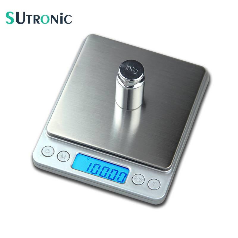 SU01 500g x 0.01g Portátil Mini balança Eletrônica Escalas de Alimentos Caso Bolso Cozinha Escala Jóias Peso Balanca Digital Com 2 bandeja