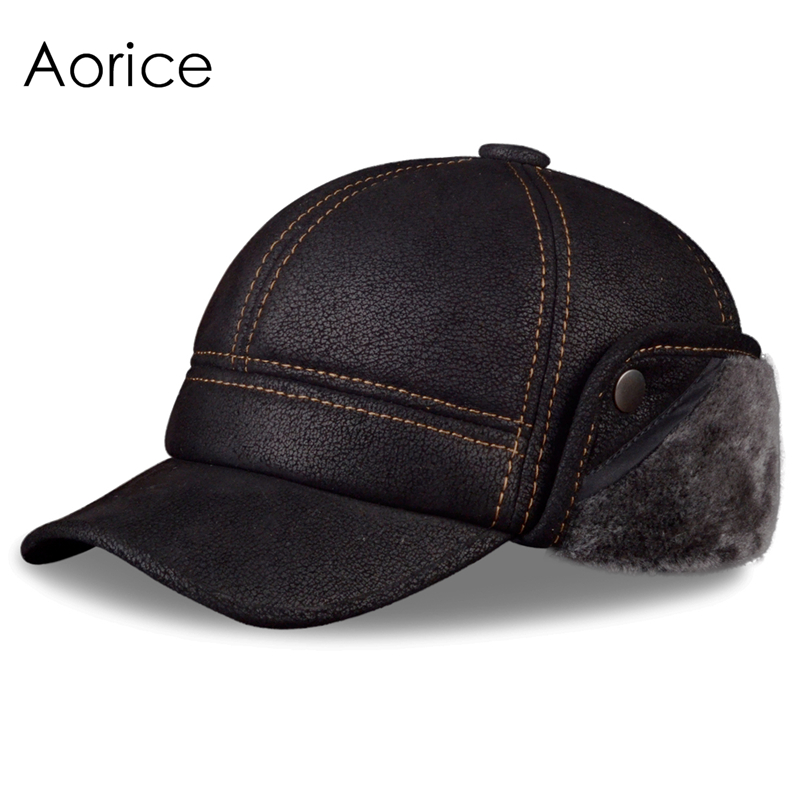 Aorice Men's Scrub Genuine Leather baseball caps hats Faux fur Winter Warm ear flap Hat / Cap black brown camel HL083 aorice genuine leather baseball cap men hats and caps solid color brown black leather leisure fashion travel biker hl187