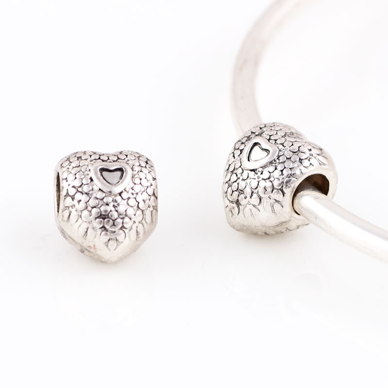 10 Pcs a Lot Silver Alloy Beads Heart Shape DIY Big Hole Metal Beads Spacer Murano Bead Charm Fit For Pandora Charms Bracelet