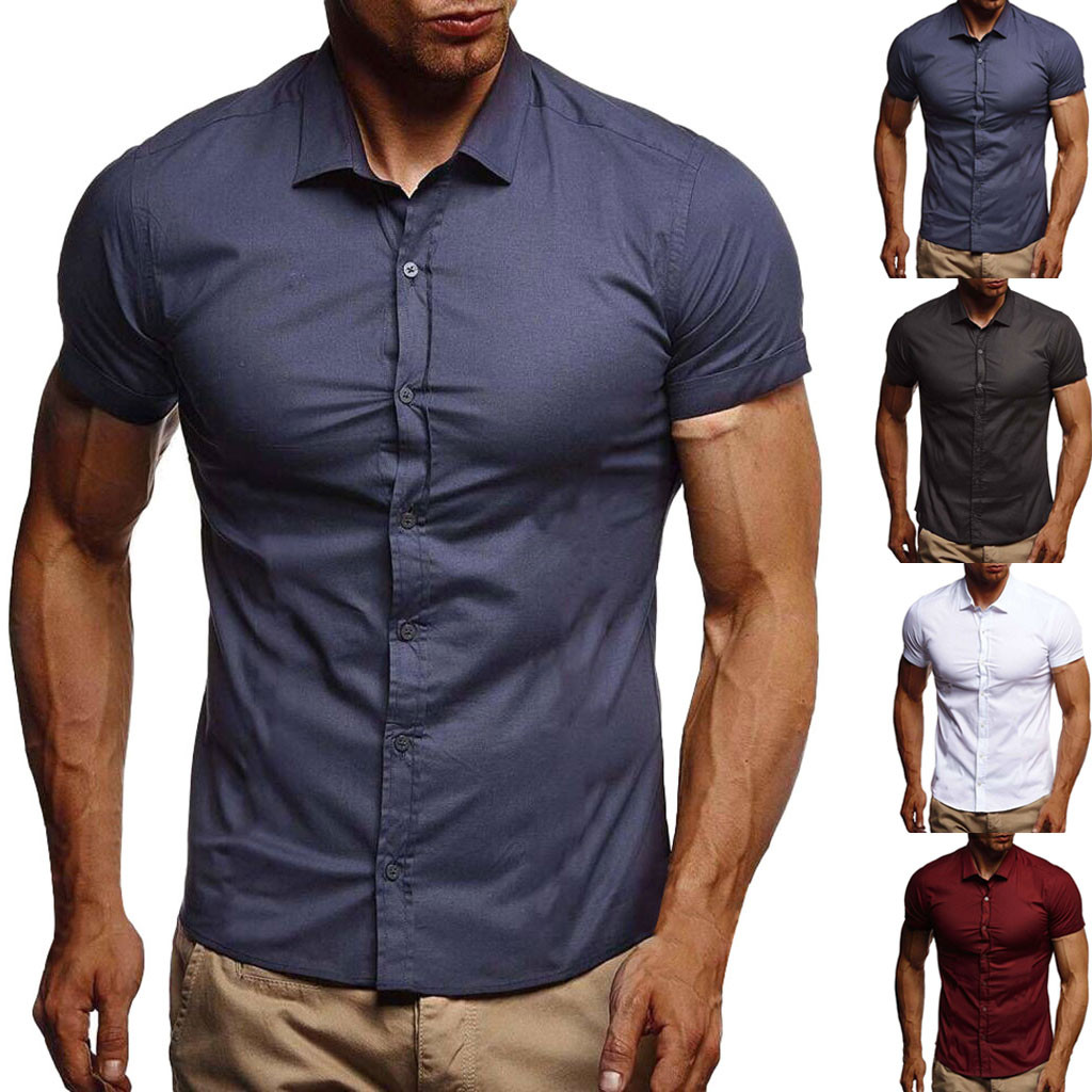 Men Pure Color Button  Splicing Pattern Casual   Lapel  Short Sleeve Shirt Support Wholesale And Dropship