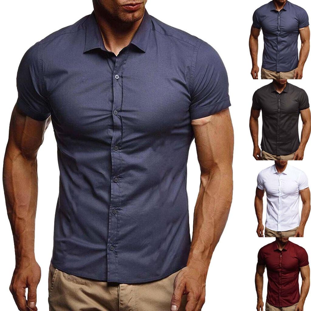 גברים צבע טהור כפתור שחבור דפוס מזדמן דש קצר שרוול חולצה רשמית עסקים מקרית להנמיך צווארון מוצק חולצות