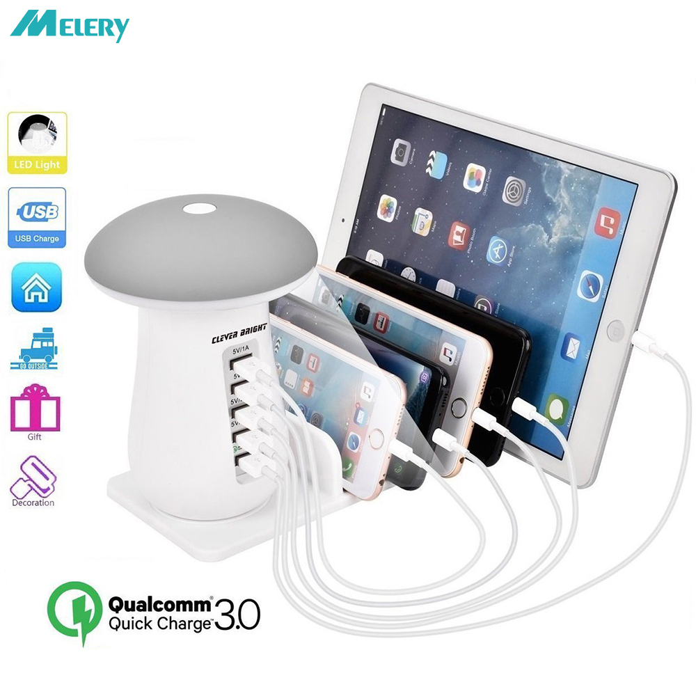Multiple USB Charging Station Fast Led Night Light QC3.0 Quick USB Charger 5 Ports Phone Charger for IPhone Samsung Xiaomi