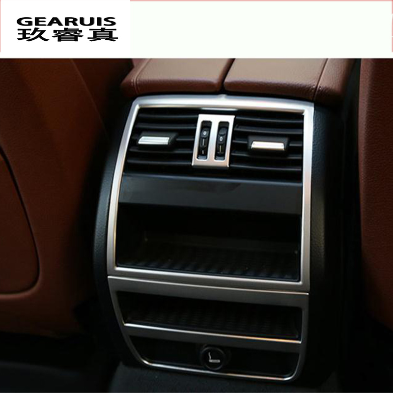 Car Styling Rear Air Conditioning Vent Decorative Frame Outlet Trim Strip Stickers Cover For BMW 5 Series F10 Auto Accessories