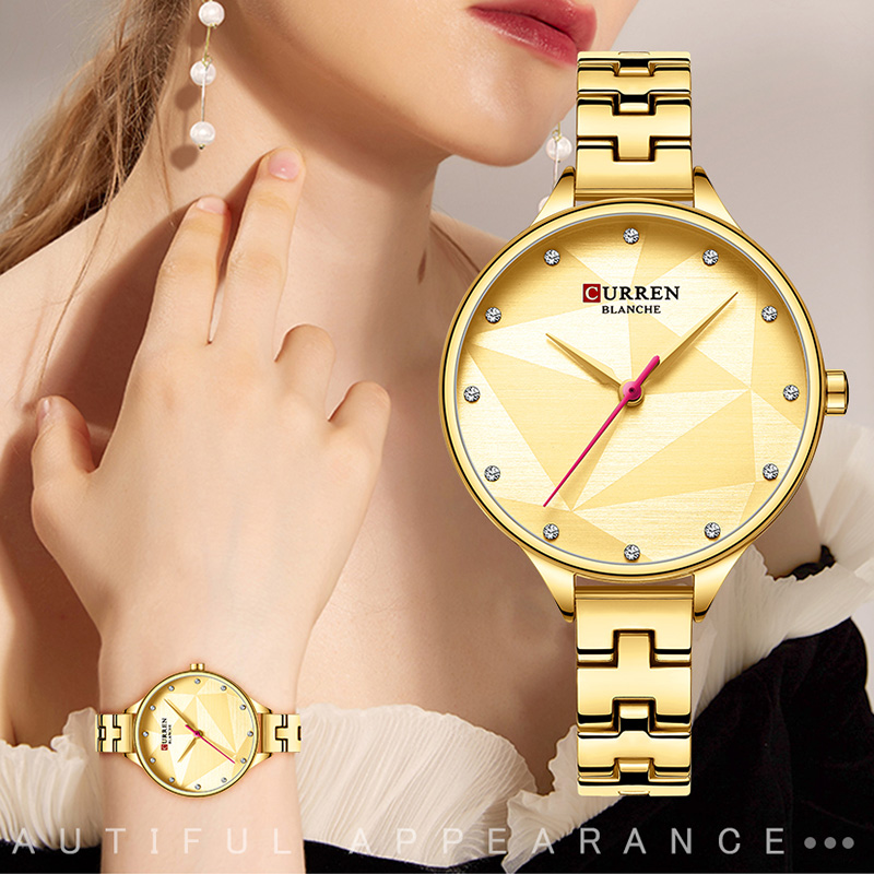 CURREN Waterproof Sport Women's Watch With Metal Bracelet Gold Wrist Watches For Women Fashion Watches Women Top Brand Luxury(China)
