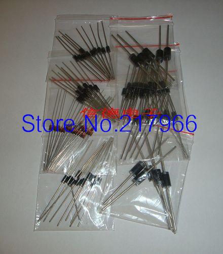 Diode package 100pcs contain 1N4007,1N4148,FR107,1N5819,1N5408 and so on