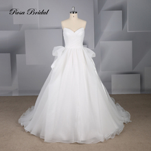 Rosabridal A-line wedding dress Simple sweetheart collar strapless tube top pleated seersucker bridal gown with court train цена 2017