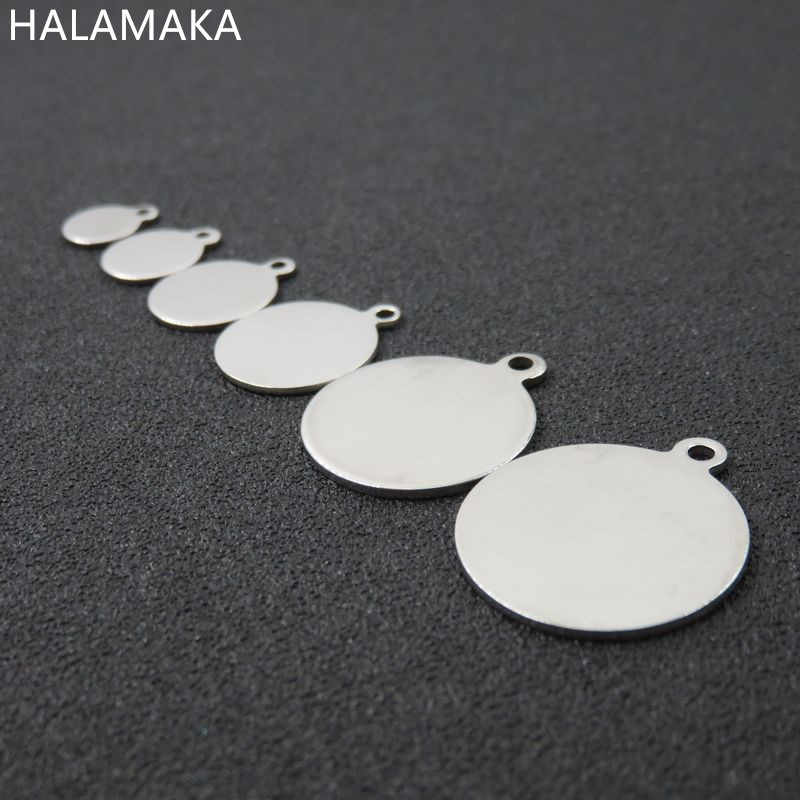 6/8/10/12/14/18/20/25mm Silver Tone Stainless Steel Blank Disc Round Charm Pendant , DIY Jewelry Accessories