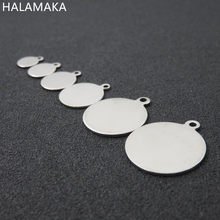 6/8/10/12/14/18/20/25mm Silver Tone Stainless Steel Blank Disc Round Charm Pendant , DIY Jewelry Accessories(China)