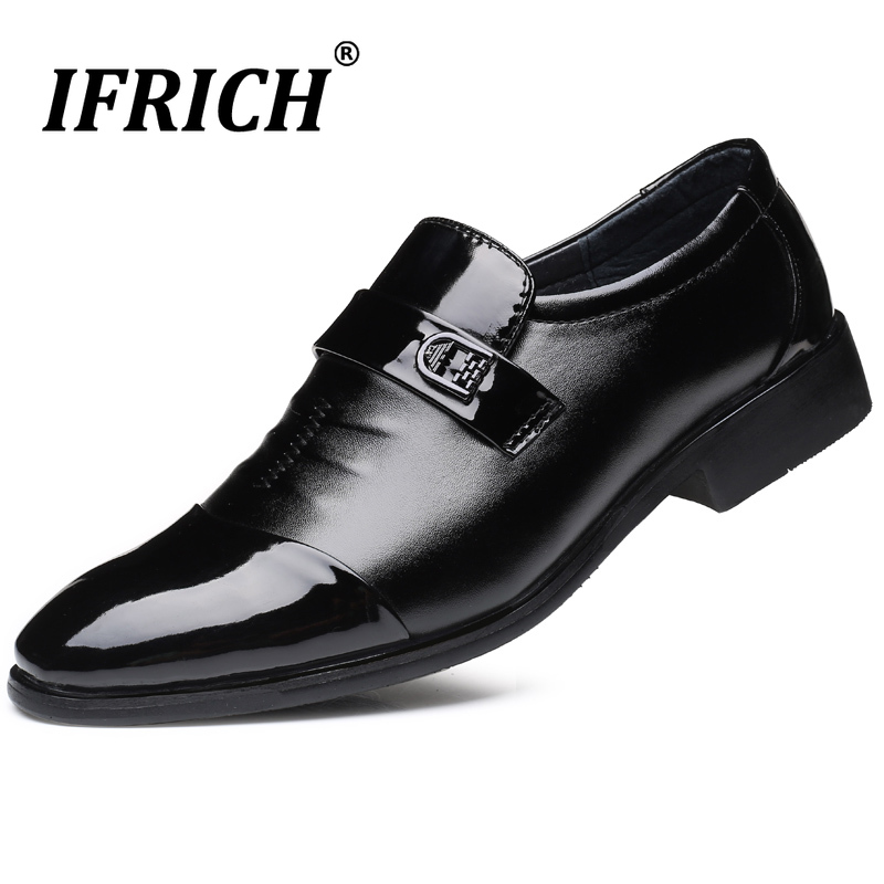 Hot Sale Formal Men Shoes Italian Style Mens Dress Shoes Lacing Oxford Shoes For Men Fashion Black Wedding Pointy Toe Shoes in Formal Shoes from Shoes