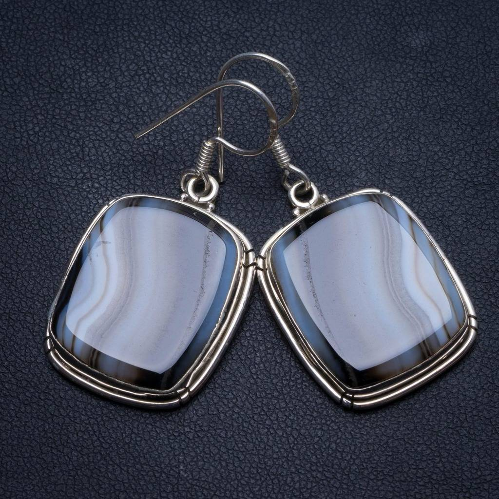 Natural Botswana Agate Handmade Vintage 925 Sterling Silver Earrings 1.75 U0972Natural Botswana Agate Handmade Vintage 925 Sterling Silver Earrings 1.75 U0972