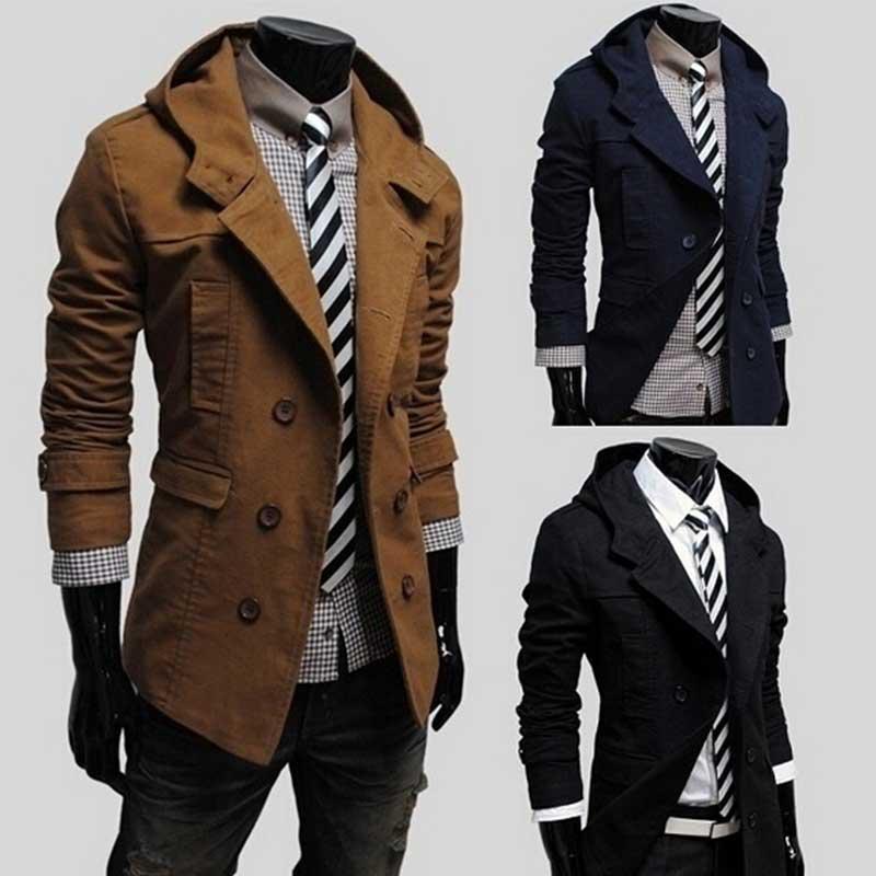 Mens Trench Coat New Fashion Design Men Windbreaker Coat Autumn Winter Double-breasted Windproof Slim Trench Coat Men Plus Size
