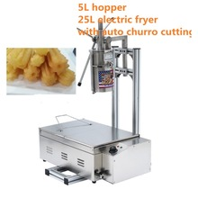 (3 in 1) 5L Manual 3 Solid Holes Churros Maker Machine with Cutter + Working Stand + 25L 220v Electric Deep Fryer