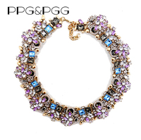 2015 New Fashion Jewelry Women Luxury Za Brand Rhinestone Collar Necklace Purple Crystal Bib Choker Statement