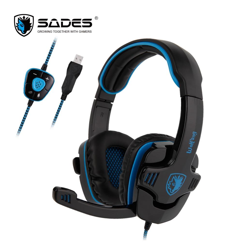 все цены на  SADES WOLFANG Virtual 7.1 Surround Sound Gaming Headphones Rotatable Microphone Headband PC headphone Headset for Gamer  онлайн