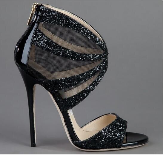 ФОТО Women Summer Fabulous Gold/Black Glitter-Coated Metallic Leather and Mesh Sandals Gladiator Bling Bling Wedding High Heel Shoes