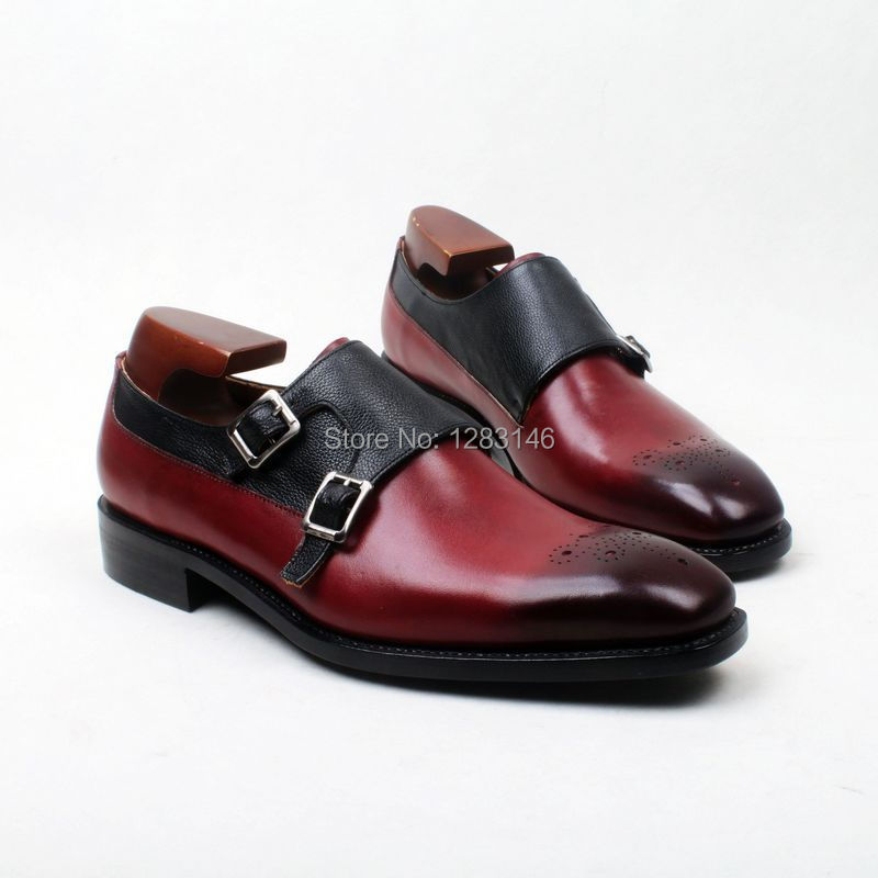 obbilly Bespoke Custom Handmade Leather Upperoutsole/Insole Wine Black Double Monk Strap Goodyear Square toe Shoe No.MS118