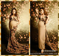 2016 new studio photography photo clothes long print chiffon pregnant women maternity dress pregnancy shooting baby shower gift