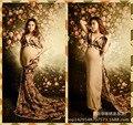 2016 novo estúdio foto fotografia roupas longo imprimir chiffon mulheres grávidas vestido de maternidade gravidez tiro presente do chuveiro de bebê