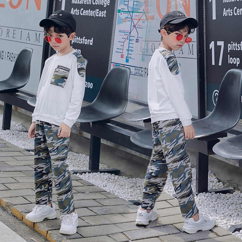 Liakhouskaya/детская одежда для мальчиков весна-осень 2019 г., новая модная камуфляжная Экипировка с длинными рукавами для мальчиков, костюм