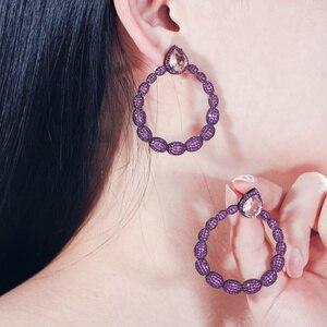 Image 5 - Cwwzircon микро паве горячий розовый фианит камень черный золотой большой круглый Висячие серьги для женщин брендовые ювелирные изделия CZ563