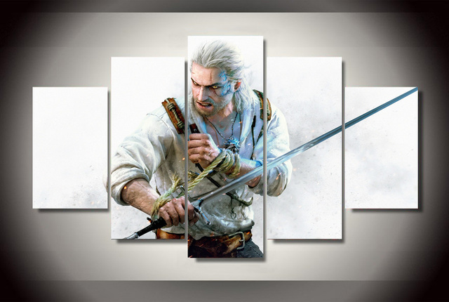 wall art 5 pieces canvas prints the witcher 3 wild hunt painting