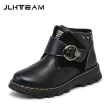 2016 Winter Children Genuine Leather Boots Brand Boys & Girls Cotton Buckle Shoes Fashion Ankle Martin Boots for Kids,RJ249