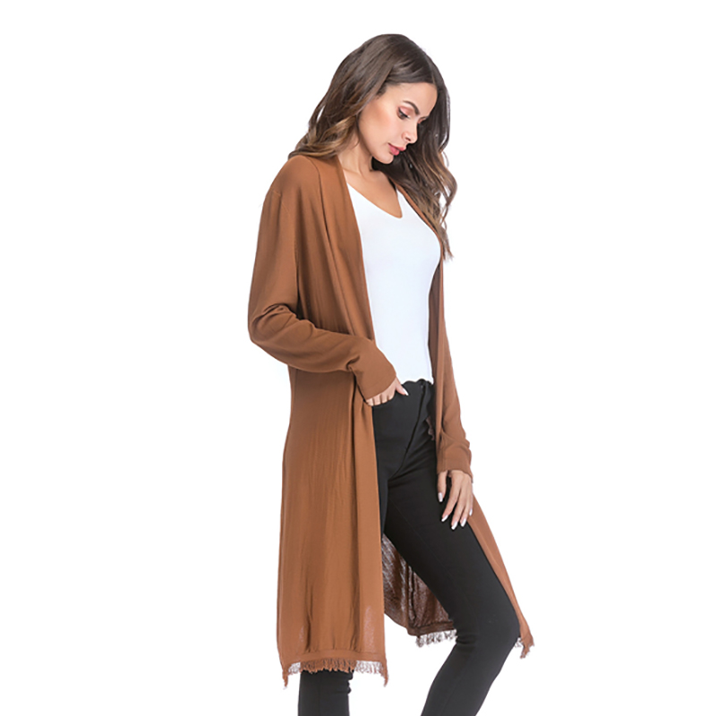 Kostlich 2018 Women Solid Color Tassel Long Knitted Cardigans Casual Open Stitch V Neck Full Sleeves Cardigans M-XL (5)