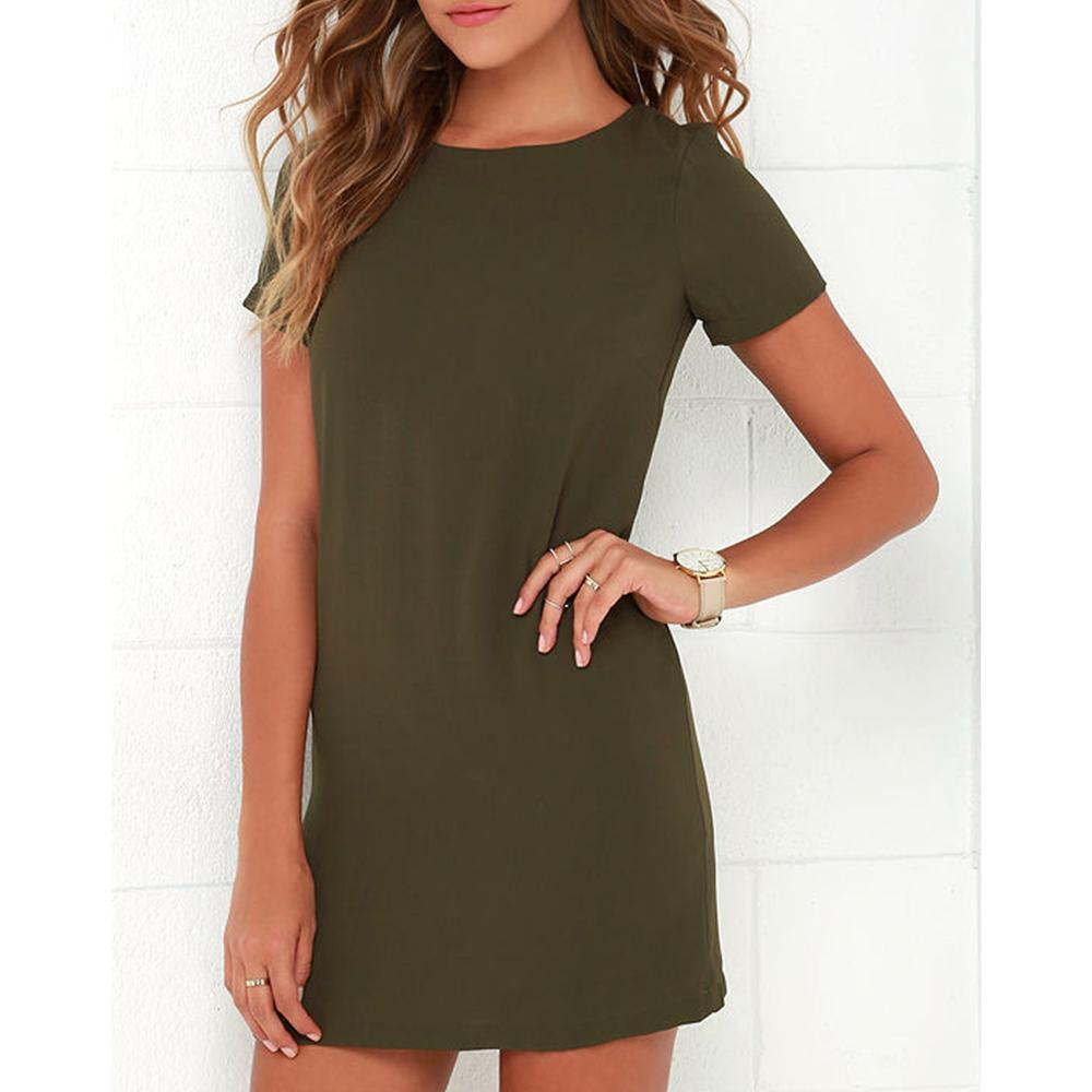 2019 women 39 s O neck solid color dress summer fashion loose mini dresses casual short sleeve elegant straigth female vestidos in Dresses from Women 39 s Clothing