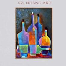 Hand-painted oil painting abstract still life modern minimalist wine bottle bar creative wall paintings hallway aisle
