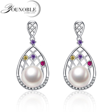Real Round Freshwater Pearl Earring for Women,Bohemia 925 Silver Earrings Anniversary Girl Birthday Gift