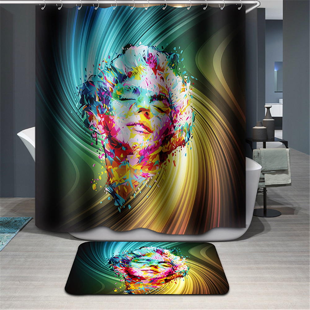 3d Marilyn Monroe Shower Curtain Michael Jackson washable bathroom curtain Fabric dolphins woods waterproof bath hooks-in Curtains from Home