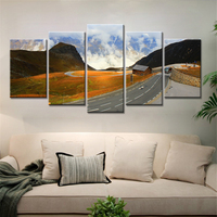 5 Pieces Wall Poster Highway Mountains Colorful Clouds Landscape Canvas Painting For Living Room Wall Art
