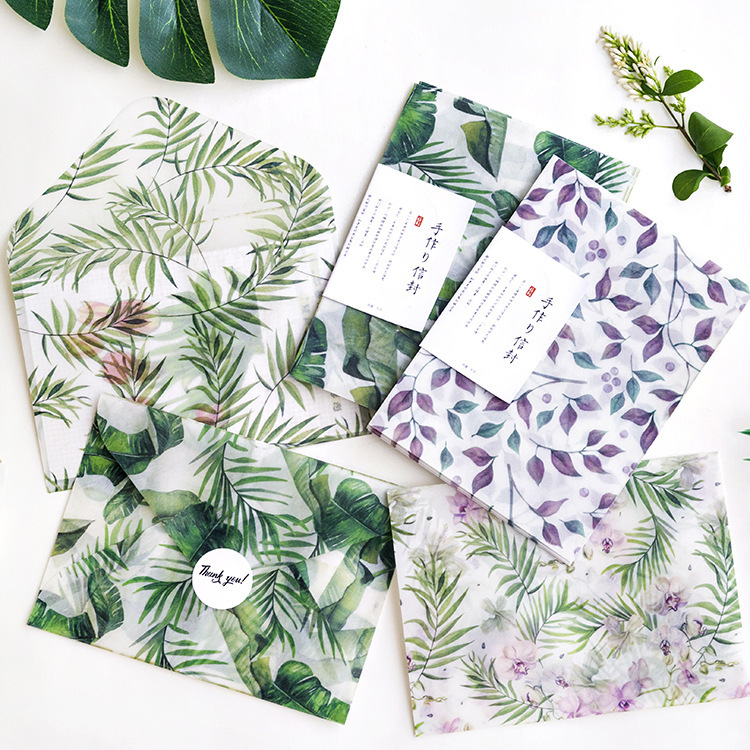 3 Envelopes/Pack Summer Leaves Plant Series Parchment Paper Envelope For Gift Korean Stationery